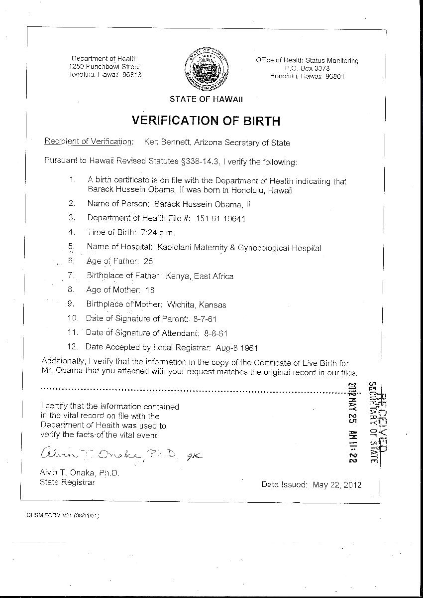 Verification The Birther Think Tank