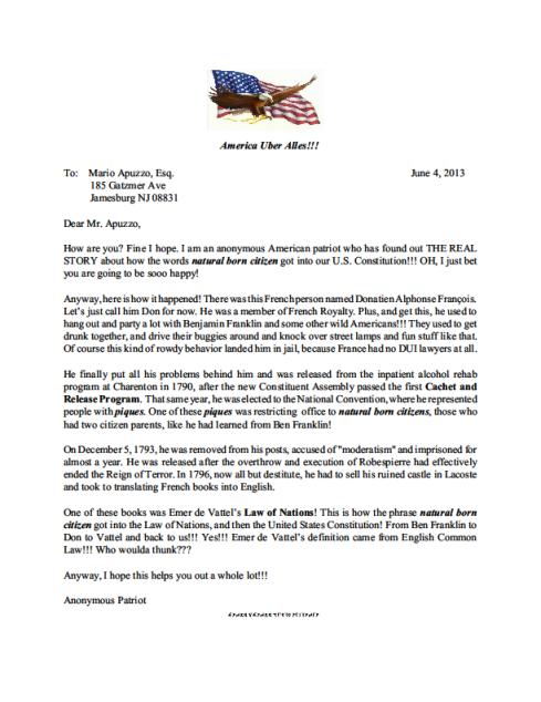 Anonymous Patriot Letter