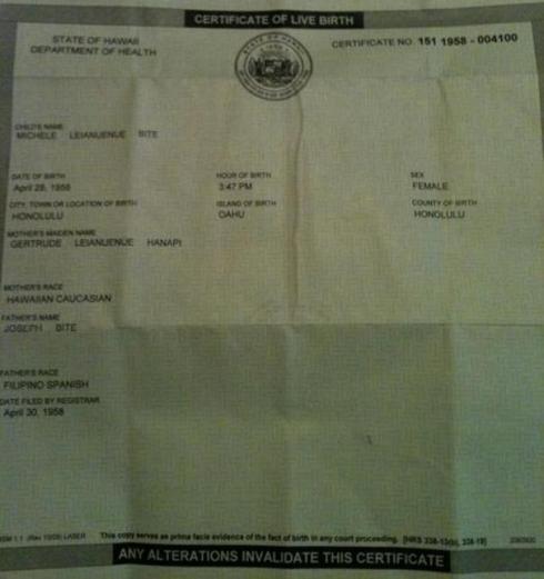 Hawaiian Birth Certificate race