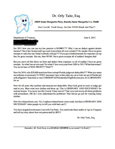Taitz IRS Response